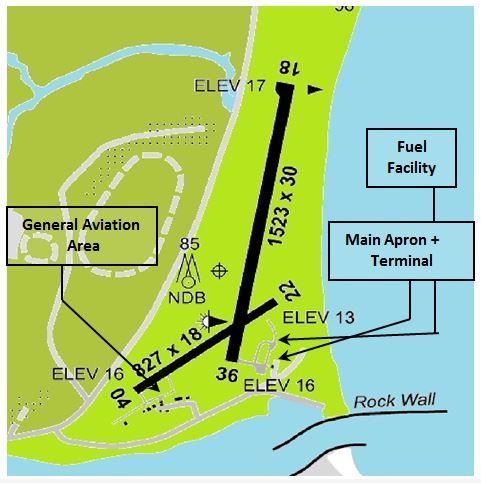 Map of Moruya Airport and facilities