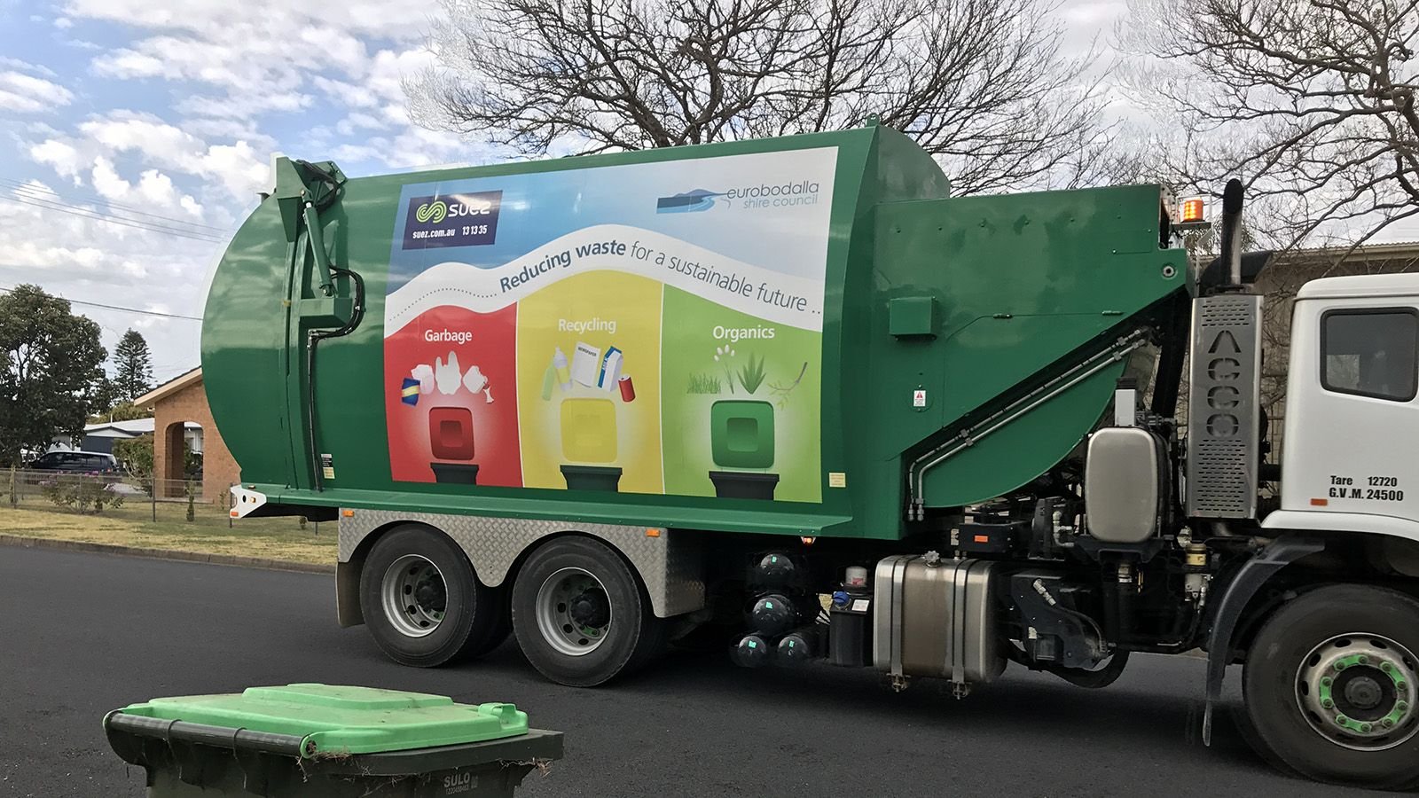 A Eurobodalla bin collection truck on the road banner image