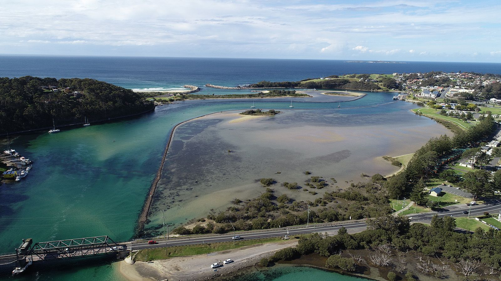 Aerial photograph of Wagonga Inlet banner image