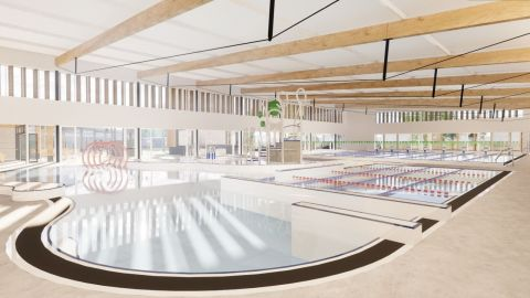 concept image of new pool hall showing large timber beams