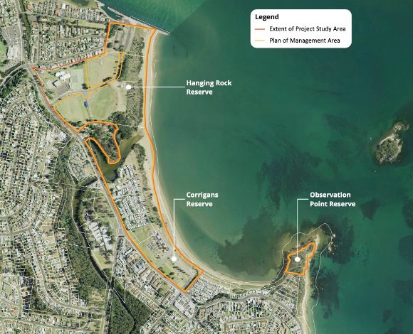 Aerial map of Hanging Rock area, Corrigans Beach Reserve and Observation Point Reserve showing the extent of project study area which incorporates the plan of management area (Crown Reserve 66122 and 60913) as well as operational land at Hanging Rock