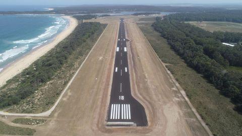 Aerial view of Moruya Airport runway.