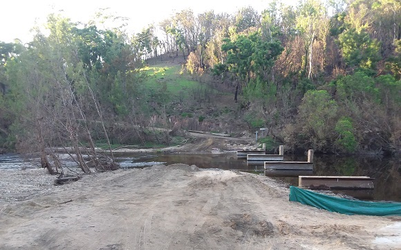 The side track has been washed away after the river flooded