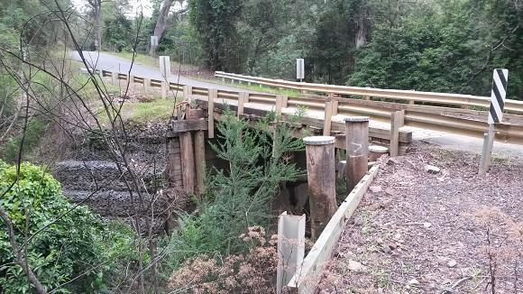 A tall timber bridge straddles a green gully