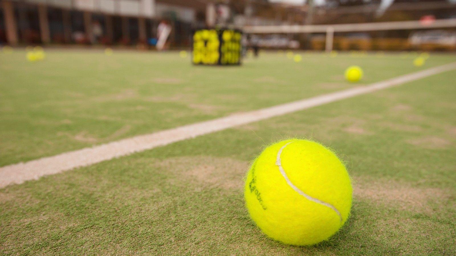Tennis balls on tennis court banner image