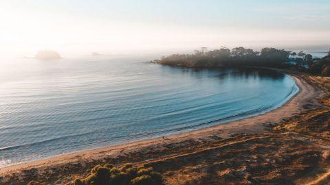 Drone shot of a golden beach at sunrise.