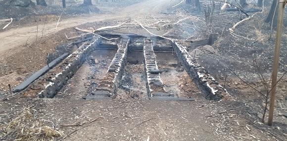 The low bridge is completely burnt