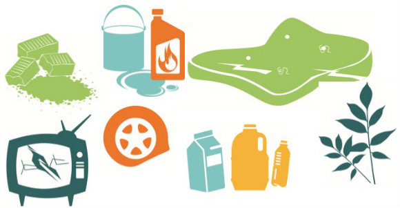 Cartoon image of hard waste items we will not collect