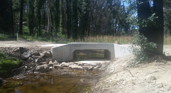A concrete culvert sits in the creek providing a crossing for vehicles above.