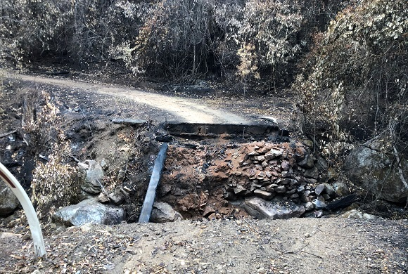Fire left a gaping hole in the road